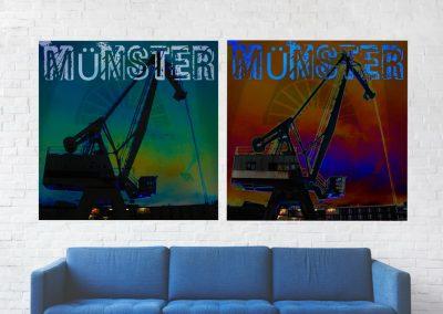 quadratische Collage, Hafen von Münster